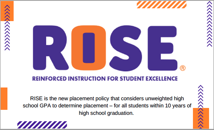 RISE (Reinforced Intsruction for student excellence. Rise is the new placement policy that considers unweighted high school GPA to determine placement - for all students within 10 years of high school graduation